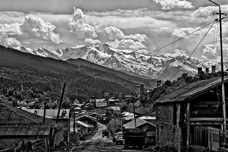 South Caucasus, Transcaucasia, Georgia, Svaneti, 4710m peak Ushba, Mestia capital of Svaneti, Becho, Tvebish village under Ushba, Ushguli - at most inhabited settlement in Europe, the central ridge of the Caucasus